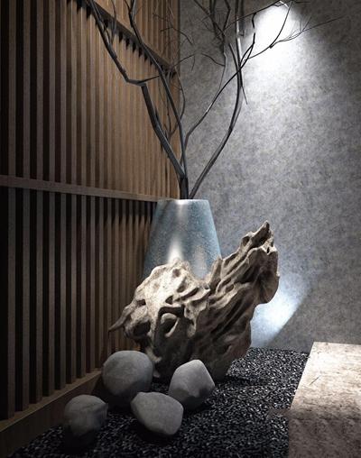 现代雕刻摆件 新中式雕刻 根雕 瓷罐