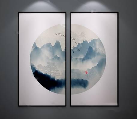 中式装饰画3D模型下载