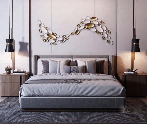现代轻奢双人床床头柜组合 现代双人床 床头柜 墙饰 床头灯 靠枕 床品 地毯