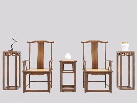 新中式官帽椅方几 新中式椅子 官帽椅 方几 瓷器 干枝