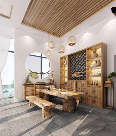 新中式茶室 新中式娱乐会所 茶台 书柜 吊灯 玄关柜 根雕 博古架 长条凳 盆栽