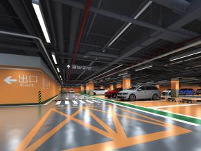 现代地下停车场3D模型