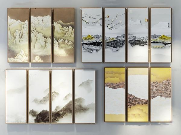 新中式装饰画组合3d模型