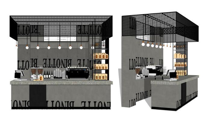 咖啡廳操作臺SU模型