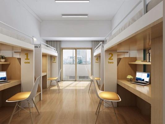 现代学校宿舍 上下床 上下铺 椅子