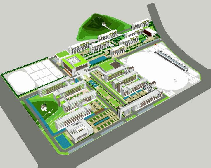 广州新石滩中学SU模型