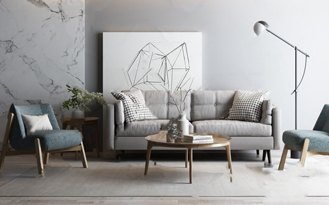 北欧沙发茶几组合 北欧沙发茶几组合 茶几 休闲椅 装饰画 落地灯 饰品 摆件 花艺
