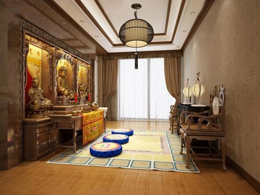 中式佛堂 中式佛堂 邊柜 休閑桌椅 坐墊 吊燈