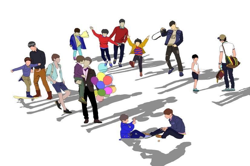 2D人物组合SU模型