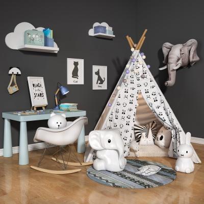 现代实木儿童桌椅玩具帐篷3D模型