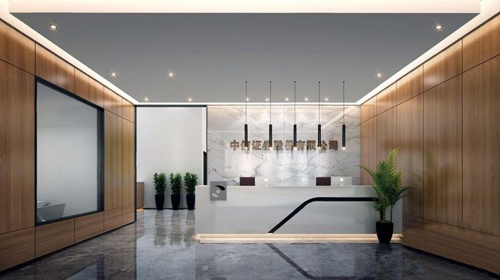 现代大厅接待前台 现代前台接待 大厅 接待台 吧台 单头吊灯 绿植