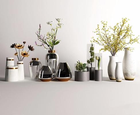 花盆摆件组合 现代花艺 新中式花艺 花盆 摆件组合