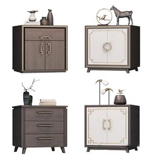 新中式床头柜组合 新中式床头柜 摆件
