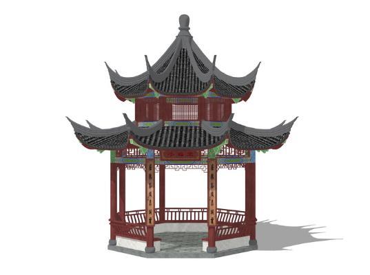 古建凉亭SU模型
