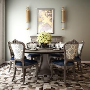 美式实木餐桌椅壁炉壁灯餐具摆件3D模型