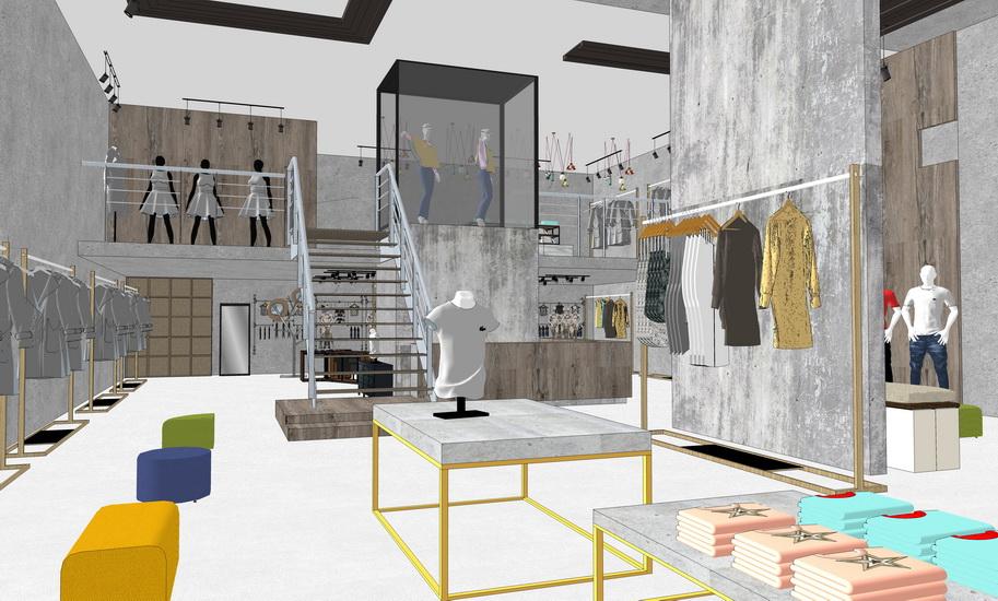 现代工业风服装店室内设计SU模型