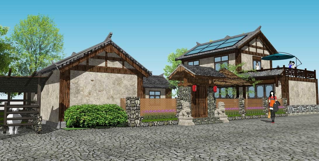 新农村四合院自建房SU模型