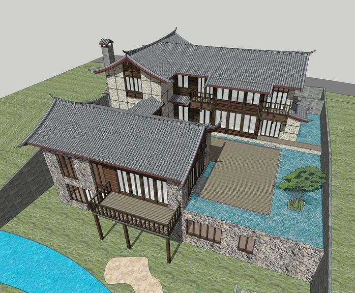 中式传统民居SU模型