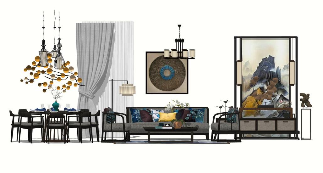中式风格客厅餐厅玄关家具组合SU模型