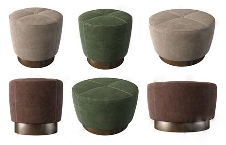 现代绒布凳子组合 现代凳子 绒布凳子 圆凳