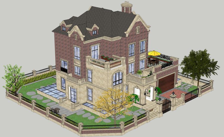 欧式别墅花园庭院景观SU模型