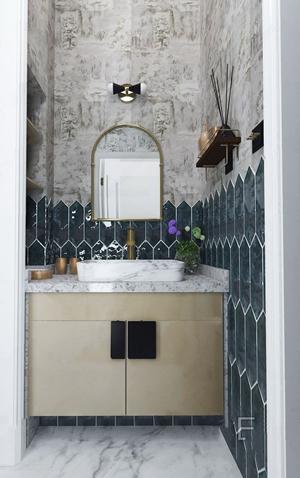 花漾设计轻奢美式洗手台 美式台盆 洗手台 绿植 梳妆镜 壁灯 摆件
