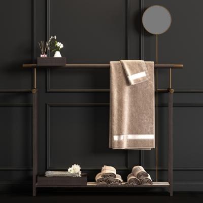新中式实木浴巾架浴巾饰品组合3D模型