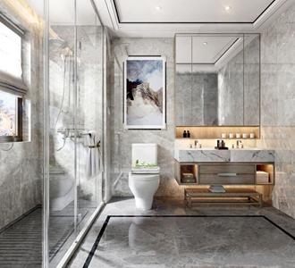 新中式卫生间 新中式卫浴 洗手台 马桶 淋浴间 台盆柜 卫浴用品 卫生间