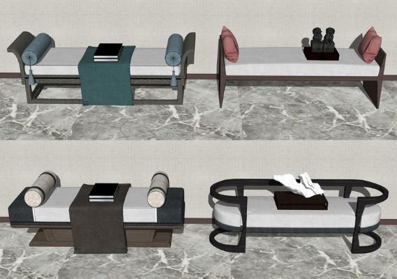 新中式床尾凳组合SU模型