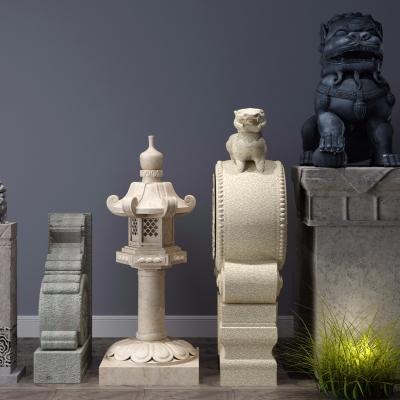 新中式石狮子灯柱3D模型