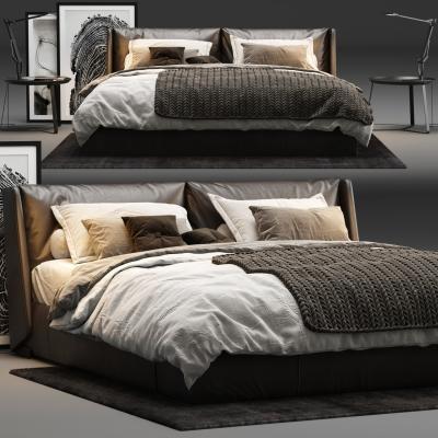 现代皮革双人床床头柜摆件组合3D模型