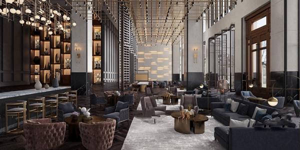 现代酒店大堂吧3d模型