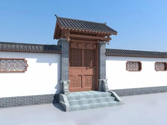 中式门头3D模型下载