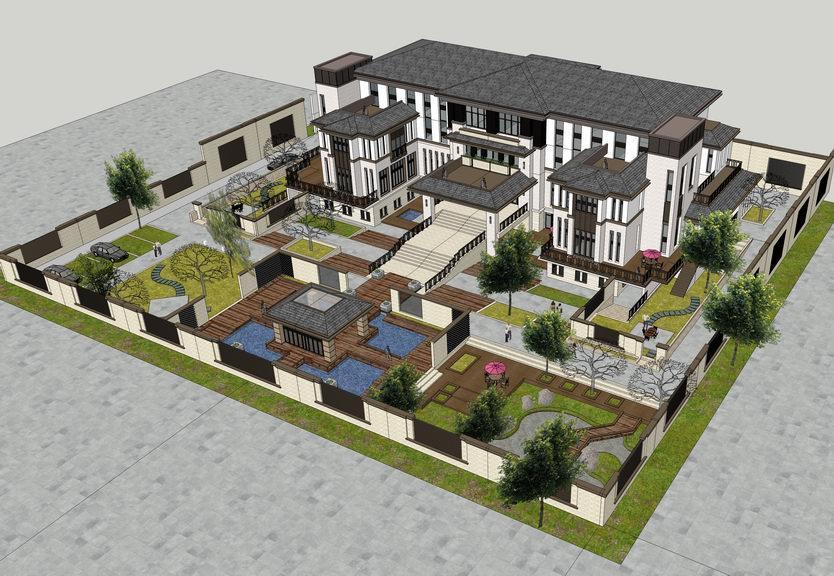 新中式豪宅别墅SU模型