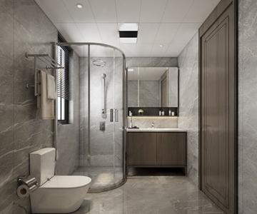 现代卫生间 现代卫浴 马桶 卫浴柜 淋浴间