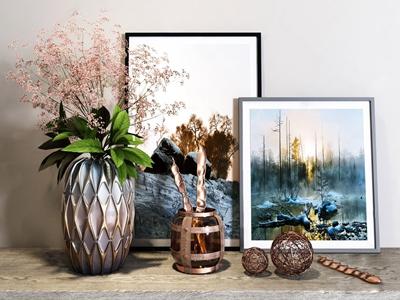 现代花瓶摆件 现代饰品摆件 花瓶 装饰画