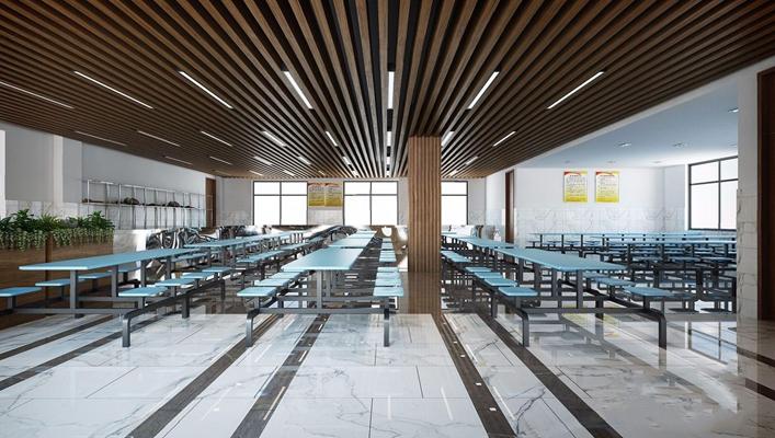 现代食堂 现代餐饮空间 学校餐厅 连体桌椅 吊顶
