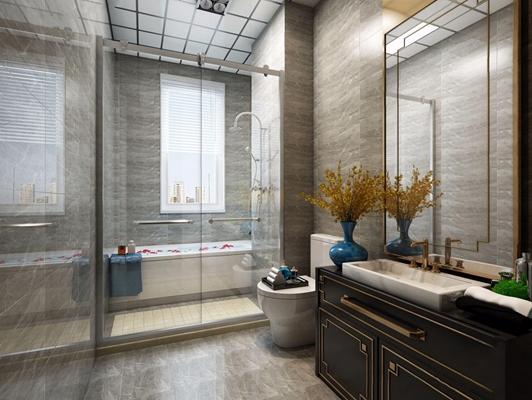 新中式卫生间 新中式卫浴 洗手台 淋浴间 马桶 花艺 卫浴用品 台盆柜