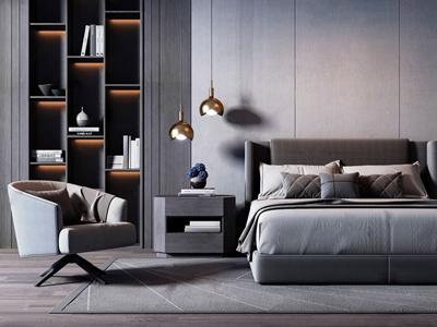 现代高级灰双人床休闲椅组合 现代双人床 休闲椅 床头柜 金属吊灯 摆件 床头灯 床品
