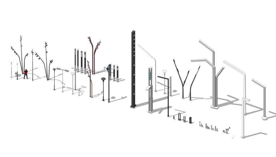 景观灯具组合SU模型