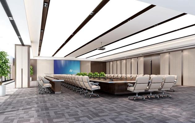 现代会议室 现代会议室 会议桌 办公椅 投影仪