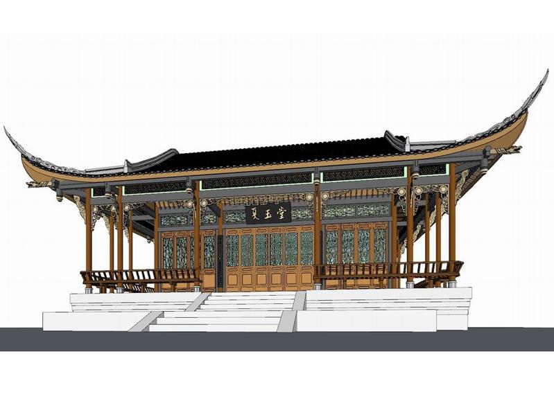 西蜀古建夏玉堂SU模型