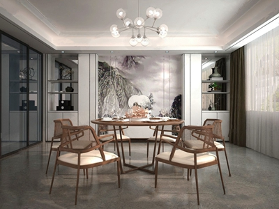 吴滨设计 新中式餐厅 新中式餐厅 餐桌椅 圆餐桌 餐椅 单椅 椅子 吊灯 餐具 餐桌摆件 吴滨设计