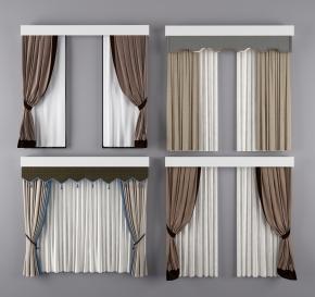新中式布艺窗帘组合3D模型