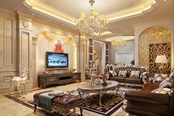 豪华欧式客厅 欧式客厅 双人皮质沙发 坐凳 茶几 电视柜 吊灯 台灯 摆件