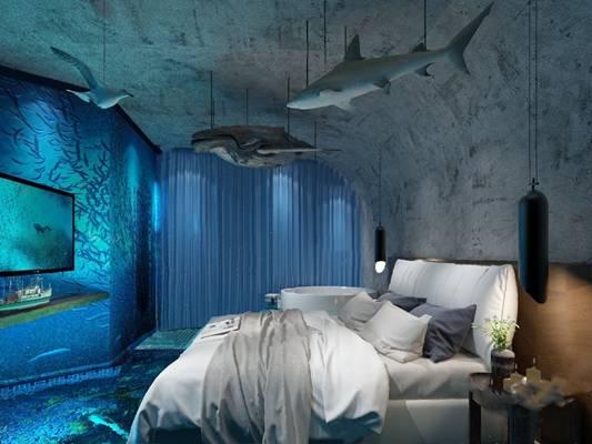 现代客房3D模型