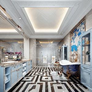 法式卫生间 法式卫浴 洗手台 卫浴柜 浴缸 装饰柜 马桶 淋浴间