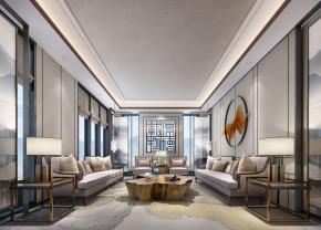 新中式会所接待室会客厅3D模型