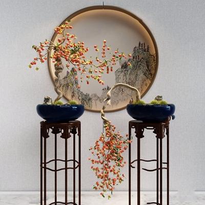 中式植物盆景 中式绿植 花架 背景墙 盆栽 植物 盆景