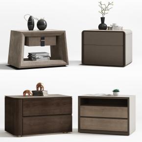 现代实木床头柜摆件组合3D模型